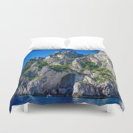 The White Grotto of the island of Capri, Italy off Naples and the Amalfi Coast Duvet Cover