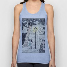 Young Lovers Caught Under the Street Lamp Hand Colored Vintage Erotica Unisex Tank Top