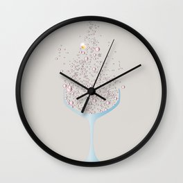 Glass Of Pink Bubbles Wall Clock