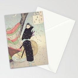Cherry Blossoms and a person (sakura) Ukiyo-e Stationery Cards