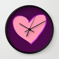 in the flesh Wall Clocks featuring Flesh & Claret by TheseRmyDesigns