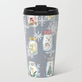 Christmas Jars Grey Travel Mug