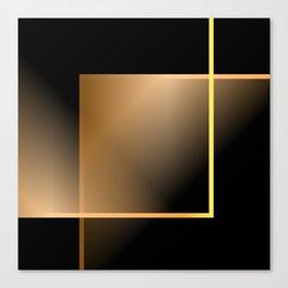 Gold geometric line on blkack background Canvas Print
