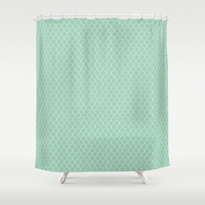 Chicken Wire Mint Shower Curtain