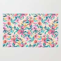 peach Area & Throw Rugs featuring Peach Spring Floral in Watercolors by micklyn