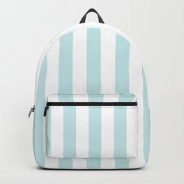 Duck Egg Pale Aqua Blue and White Wide Vertical Beach Hut Stripe Backpack