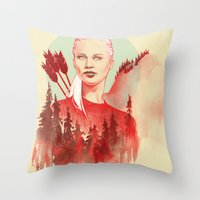 games Throw Pillows featuring The Games by Katie Sanvick