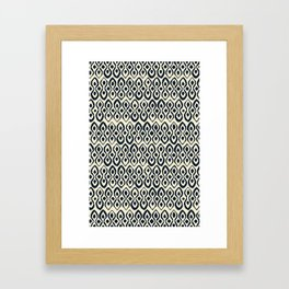 brocade indigo ivory Framed Art Print
