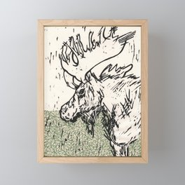 I See Leaves of Green Black White Green Moose Linocut Block Print Graphic Design Framed Mini Art Print