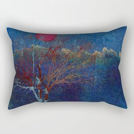 Abstract watercolor landscape with tree Rectangular Pillow