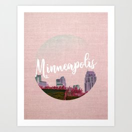 Minneapols Minnesota Skyline-Pink Tones Art Print