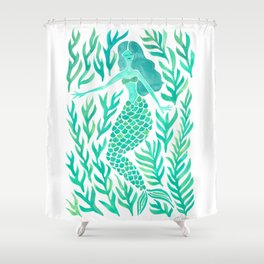 Kelp Forest Mermaid – Mint Palette Shower Curtain