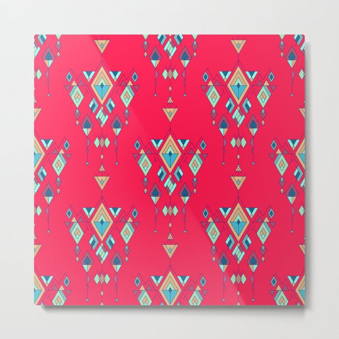 Vintage ethnic tribal aztec ornament Metal Print