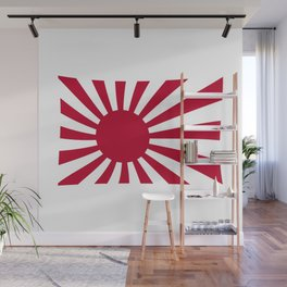 The rising sun Japemese flag in red and white Wall Mural