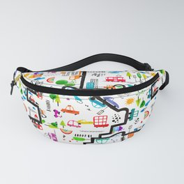 Busy City Streets Kids Watercolor Pattern Fanny Pack