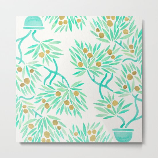 Bonsai Tree – Mint & Gold Metal Print