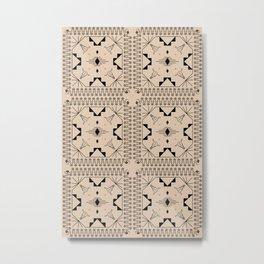 Lost Desert Tile - Black & Camel Metal Print