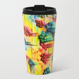 HERE COMES THE RAIN - Abstract Acrylic Painting Rain Storm Clouds Colorful Rainbow Modern Impasto Travel Mug