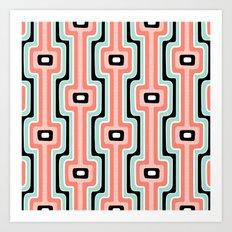 Coral Stripe Mod Art Print