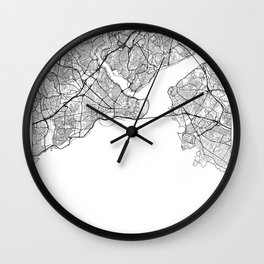 Istanbul Map White Wall Clock
