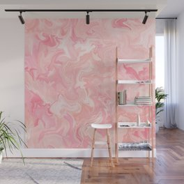 Blush pink abstract watercolor marble pattern Wall Mural