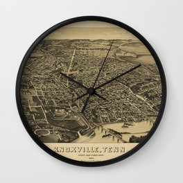 Bird's Eye View of Knoxville, Tennessee (1886) Wall Clock