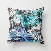 metallic Throw Pillows featuring Metallic by Lara Gurney