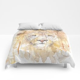 "Watercolor Painting of Picture ""African Lion"" Comforters"