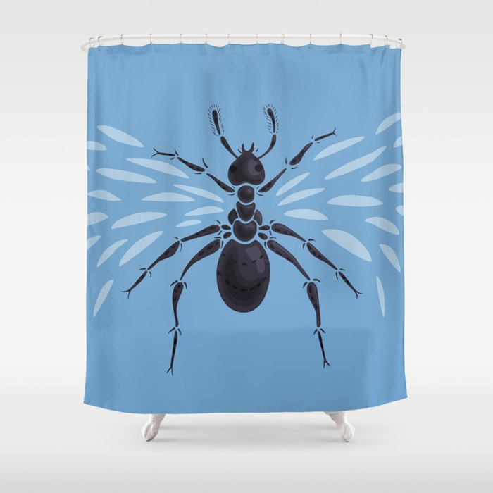 Weird Abstract Flying Ant Shower Curtain