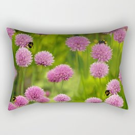 Bumble Bees on Pink Chives Rectangular Pillow