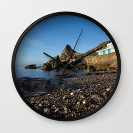 Meadfoot Beach Huts And Imposing Cliffs Wall Clock