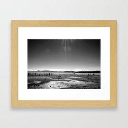 Lake Tahoe Beach in Black and White Framed Art Print