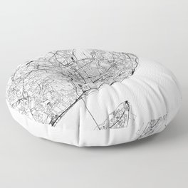 Lisbon White Map Floor Pillow