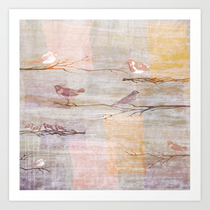 Golden Pink Birds Art Print