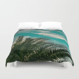 Palms on Turquoise - II Duvet Cover