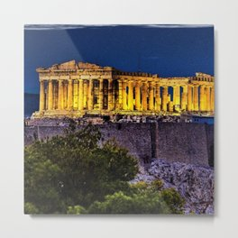 Acropolis; Athens Greece on a star-filled night Metal Print
