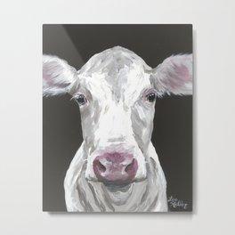Cow Art, Cute Cow Painting Metal Print
