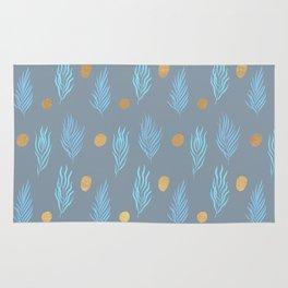 Gold dot and Vintage blue leaf pattern Rug
