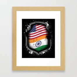 Indian American Flag Framed Art Print