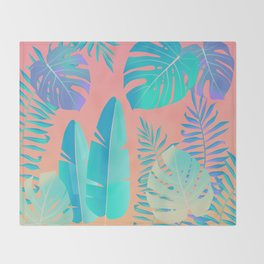 Tropics ( monstera and banana leaf pattern ) Throw Blanket