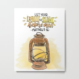 lamp and bible verse Metal Print