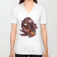 koi fish V-neck T-shirts featuring Koi Fish by Absorb81