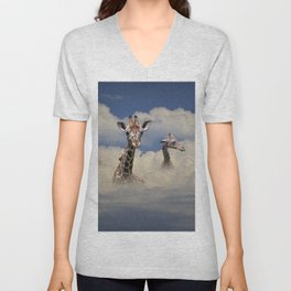 Heads above the Clouds with 3 Giraffes Unisex V-Neck