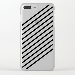 Stripes Diagonal Black White Minimal Design Clear iPhone Case