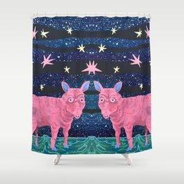 Spacepig Shower Curtain