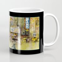 broadway Mugs featuring Broadway,  New York by Dorrie Rifkin Watercolors