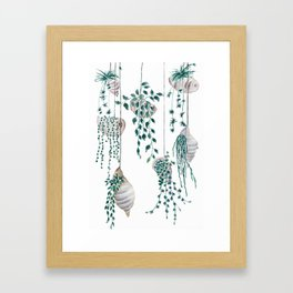 hanging plant in seashell Framed Art Print