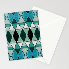 Art Deco Triangles Blue Stationery Cards