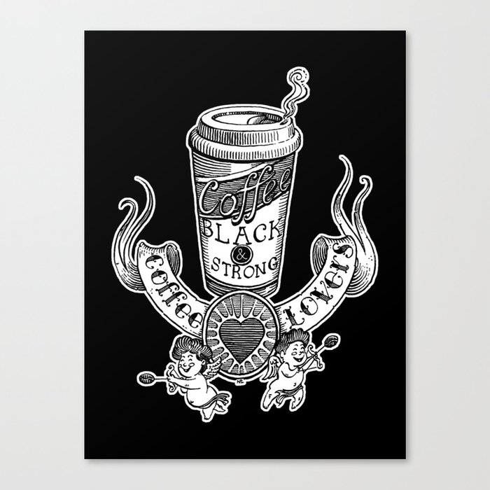 Coffee Lovers (black version) Canvas Print