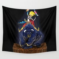 pit bull Wall Tapestries featuring Bull by (Tak)